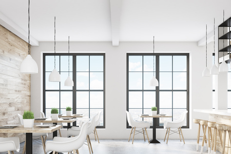 Cafe interior with two windows, square tables and white chairs. There is a light wooden wall. 3d rendering