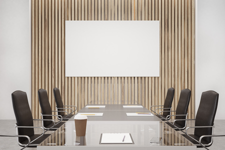 go inside: Wooden conference room interior with a long table with reflecting surface, clipboards lying on it and two rows of black office chairs by its sides. Horizontal poster. 3d rendering, mock up Stock Photo