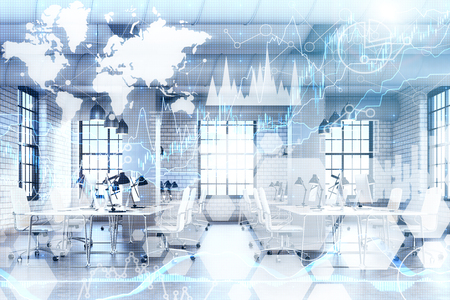 Gray office interior with rows of computer desks. There are graphs and world map in the foreground.