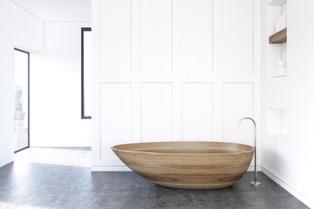 Minimalistic bathroom interior with a white wall and a wooden bathtub standing near it. 3d rendering, mock up, toned image