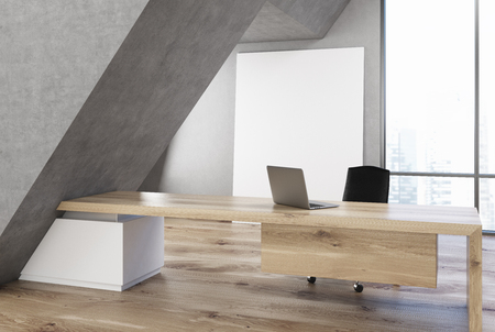 CEO office interior with a long wooden table, a laptop standing on it, a panoramic window with a poster near it and a triangular construction. 3d rendering, mock up Stock Photo