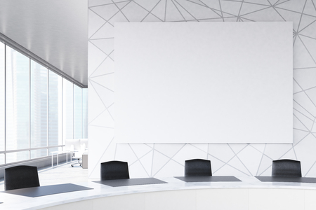 Conference room interior with a round table, black office chairs near it, a horizontal poster on a marble wall and a panoramic window. 3d rendering, mock up