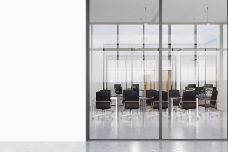 second floor: Office corridor with glass and white walls and concrete floor. The second side of the lobby is seen through. 3d rendering, mock up