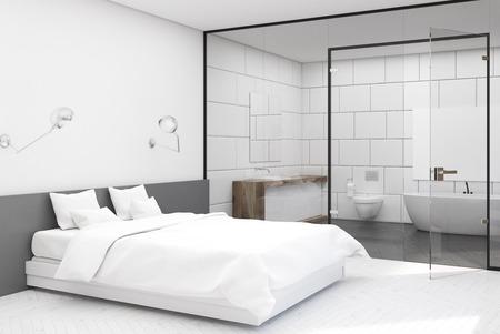 Camera da letto con bagno bianco, lato Archivio Fotografico - 78073249