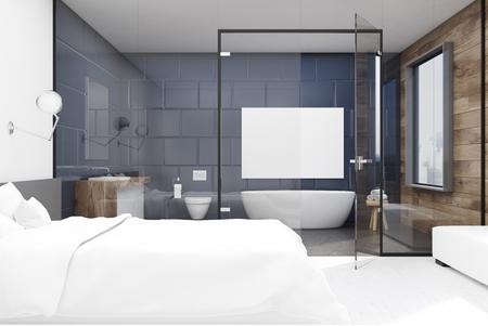 Interni della camera da letto con un grande letto matrimoniale e un bagno con vetro e grigio. Rendering 3D, mock up Archivio Fotografico - 78073251