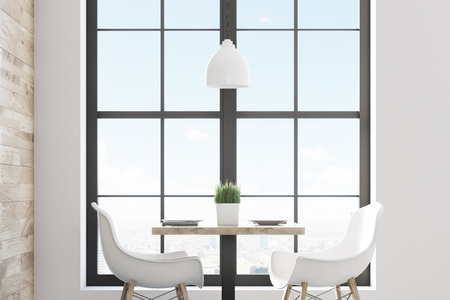 go inside: Close up of a square cafe table with two white chairs standing near a window and a light wooden wall. 3d rendering