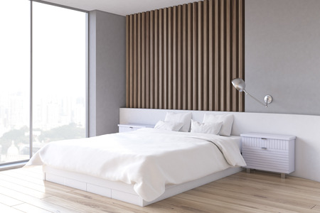 matrimonial: Side view of an interior of a bedroom with gray and light wooden wall element, a double bed and two bedside tables. 3d rendering.