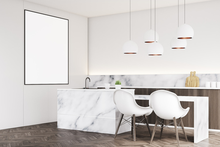 Corner of a marble kitchen interior with a small table, two white chairs, countertops and a framed vertical poster on a wall. 3d rendering, mock up Stock Photo