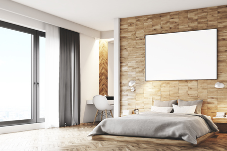 condo: Corner of a light wooden bedroom interior with a gray double bed and a framed horizontal poster hanging above. 3d rendering, mock up