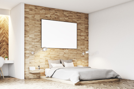 condo: Side view of a light wooden bedroom interior with a gray double bed and a framed horizontal poster hanging above. 3d rendering, mock up