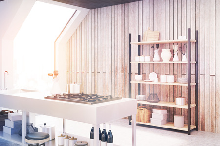 white wine: Side view of an interior of an attic kitchen with wooden walls, a cooker, a sink and a cupboard with dishes and cutting boards. 3d rendering, mock up, toned image