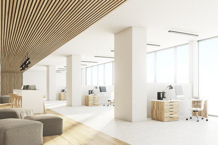Side view of an open office interior with a bar table, laptops standing on it, light wooden ceiling and floor and a wall with sticky notes. 3d rendering Banco de Imagens