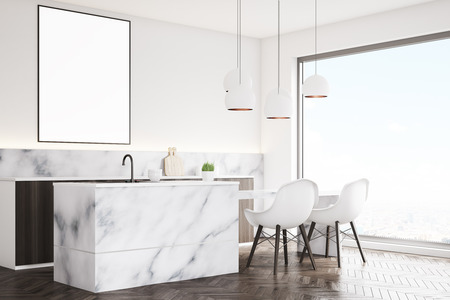 condo: Side view of a marble kitchen interior with a small table, two white chairs, countertops and a framed vertical poster on a wall. 3d rendering, mock up