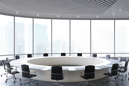 Conference room interior with a round table, black office chairs near it and a panoramic window. 3d rendering
