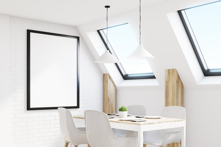 condo: Close up of an attic kitchen with white walls, a long wooden table and a framed vertical poster. 3d rendering, mock up
