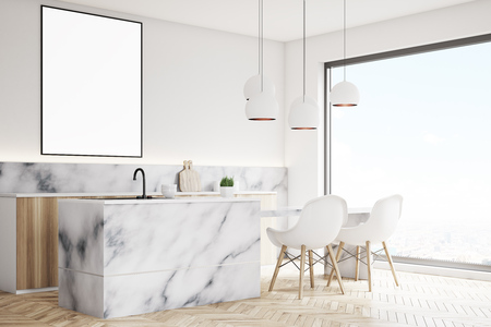 countertop: Side view of a modern kitchen interior with a small table, two white chairs, marble countertops and a framed vertical poster on a wall. 3d rendering, mock up