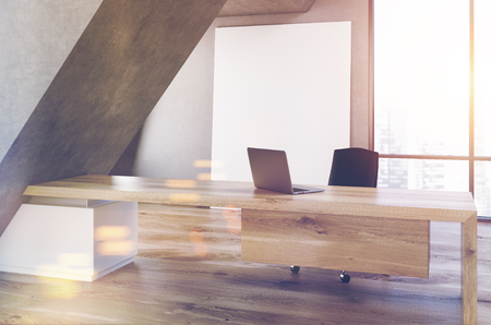CEO office interior with a long wooden table, a laptop standing on it, a panoramic window with a poster near it and a triangular construction. 3d rendering, mock up, toned image
