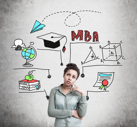 Confused African American woman wearing a green shirt is thinking about her future and career near a concrete wall with MBA education sketches