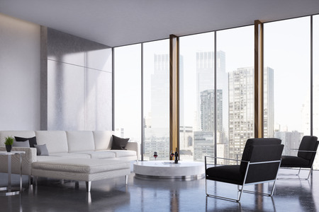 Living room interior with two white sofas standing near a coffee table, a black armchair and a panoramic window. 3d rendering, mock up Фото со стока