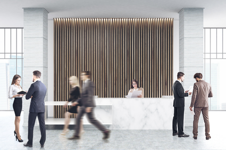 Business people are passing by a white marble reception counter of an original construction is standing near a wall with wooden vertical blinds. 3d rendering Фото со стока