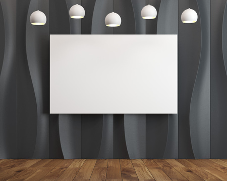 futuristic interior: Horizontal poster in an empty room with abstract background pattern with black waves or vertical wavy lines forming a smooth oval like ornament. 3d rendering mock up Stock Photo