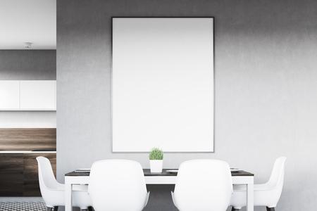 Gros plan d'un intérieur de cuisine gris avec une affiche suspendue au-dessus d'une table avec quatre chaises. Les planches en bois foncé sont vues en arrière-plan. Rendu 3D, maquette Banque d'images - 79036825