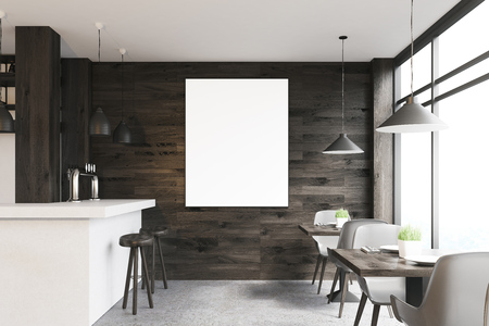 Dark wooden cafe interior with square tables, white chairs, stools standing near a white bar and a framed vertical poster on a wall. 3d rendering, mock up