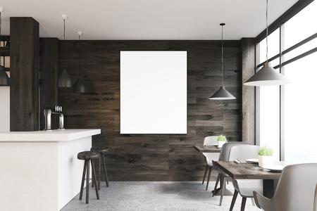 Intérieur de café en bois sombre avec des tables carrées, des chaises blanches, des tabourets debout près d'un bar blanc et une affiche verticale encadrée sur un mur. Rendu 3d, maquette Banque d'images - 79036827