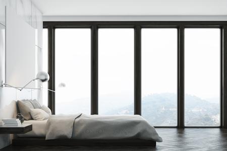Intérieur de la chambre en marbre avec une fenêtre panoramique, un lit double et une grande affiche horizontale suspendue au-dessus. Un bureau à domicile est en arrière-plan. Vue de face. Rendu 3D, maquette Banque d'images - 79036860