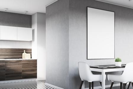 Coin d'un intérieur de cuisine gris avec une affiche suspendue au-dessus d'une table avec des chaises. Les planches en bois foncé sont vues en arrière-plan. Rendu 3D, maquette Banque d'images - 79036865
