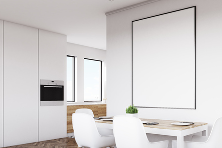 Vue latérale d'un intérieur blanc de cuisine avec une affiche suspendue au-dessus d'une table avec des chaises. Les planchers en bois clair sont vus en arrière-plan. Rendu 3D, maquette Banque d'images - 79036873