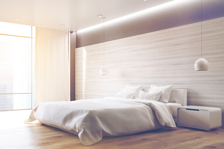 apartment suite: Corner of a gray wall bedroom interior with a double bed, a bedside table, two ceiling lamps and a large window. 3d rendering, toned image