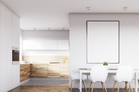 Vue de face d'un intérieur de cuisine blanche avec une affiche suspendue au-dessus d'une table avec quatre chaises. Les planchers en bois clair sont vus en arrière-plan. Rendu 3D, maquette Banque d'images - 79037021