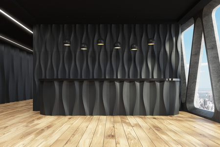 Front view of a black wave reception desk is standing near a black wall in a room with wooden floor and original windows with triangular frames. 3d rendering mock up