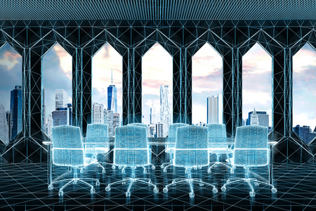 El interior de la sala de reuniones virtuales con un magnífico paisaje urbano, ventanas originales, una larga mesa blanca y un montón de sillas de oficina blancas parados a su alrededor. Simulacro de representación 3D Foto de archivo