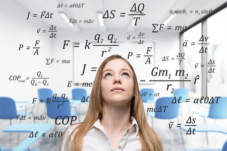 formulae: Close up portrait of a blond woman standing in a class with blue chairs and a whiteboard. Formulae in the background. 3d rendering double exposure