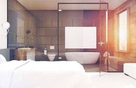 Interni della camera da letto con un grande letto matrimoniale e un bagno con vetro e grigio. Rendering 3D, mock up, immagine tonica Archivio Fotografico - 79037216