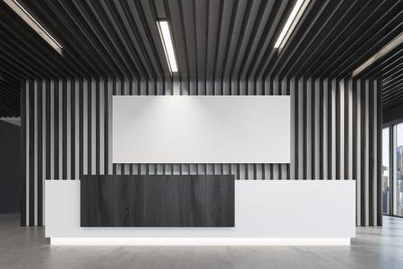 흰색과 검은 색 접수 카운터의가 까이 서 나무 장식 요소와 긴 가로 포스터 검은 사무실 로비에 서있다. 파노라마 창입니다. 빈 복도. 3d 렌더링, mock up