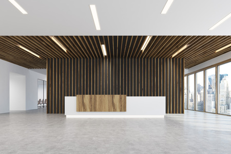 White and light wooden reception counter is standing in a light colored office lobby with wooden decoration elements. Panoramic window. Empty hall. 3d rendering, mock up Stock Photo