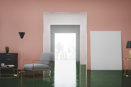 Pink and green living room interior with a gray armchair, a dresser with a potted plant on it and a vertical poster standing near a door. 3d rendering, mock up