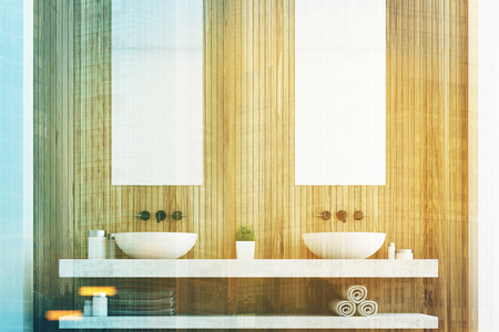 conveniences: Wooden bathroom with a light wall, two white sinks and two tall rectangular mirrors hanging above them. 3d rendering toned image Stock Photo