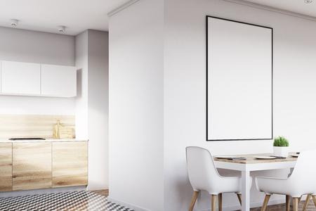 Coin d'un intérieur de cuisine blanc avec une affiche suspendue au-dessus d'une table avec des chaises. Les planchers en bois clair sont vus en arrière-plan. Rendu 3D, maquette Banque d'images - 79423177