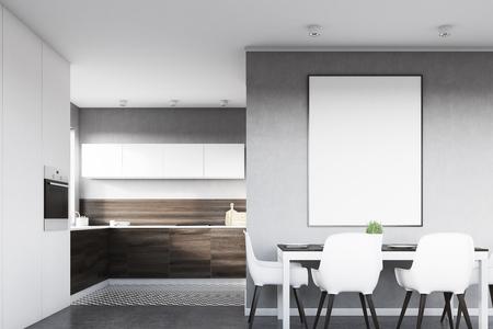 Vue de face d'un intérieur de cuisine gris avec une affiche suspendue au-dessus d'une table avec quatre chaises. Les planches en bois foncé sont vues en arrière-plan. Rendu 3D, maquette Banque d'images - 79427651