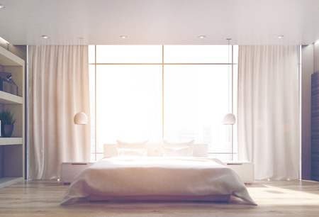 apartment suite: Bedroom interior with a wooden floor, a double bed standing near a large window and a bookcase on the left. 3d rendering, toned image Stock Photo