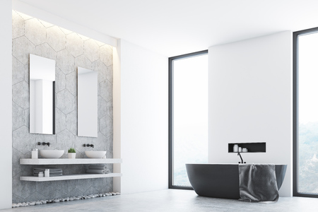 Interieur De Salle De Bain Moderne Gris Avec Une Baignoire Grise