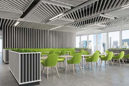 Corner of a modern cafe or a coffee shop interior with wooden walls, panoramic windows and green armchairs standing near square wooden tables. 3d rendering mock up