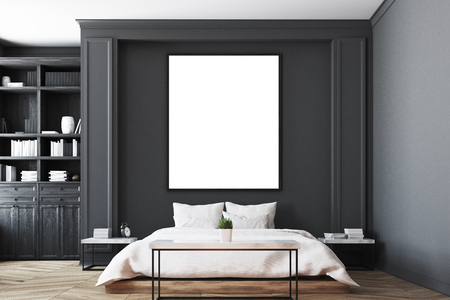Luxury bedroom interior with gray and black walls, a bookcase, a double bed, two bedside tables and wooden floor. Vertical poster. Close up. 3d rendering mock up