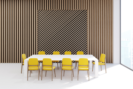 Conference room interior with a rectangular table, yellow office chairs near it, a wooden wall and a tall window. Square wall fragment. 3d rendering, mock up Stock Photo