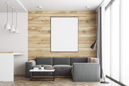 countertop: Living room in a studio apartment with wooden and white walls, wooden floor. Bar table with stools. Vertical poster. Closeup. 3d rendering mock up