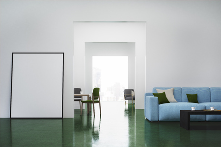 Stock Photo   White Living Room Interior With A Blue Sofa, Colored Cushions  Lying On It And A Vertical Poster Standing Near A Door. 3d Rendering, Mock  Up
